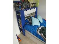 Kidspace Orlando Single Bed with Storage, shelves, mattress and draws