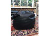 Black Leather Pouf / Footstool