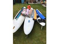 Windsurfing equipment 3 boards, 4 sails ,3 booms,2 masts
