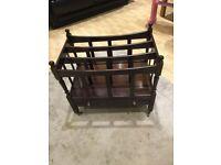 Vintage solid wood magazine rack & drawer & castors