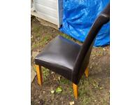 4 chocolate brown faux leather chairs