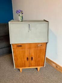 Upcycled Vintage Retro Wooden Bureau/Cabinet With Key