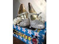 Irregular Choice Metallic Gold and Cream Courtesan Shoe, Size 5/38