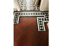 Victorian Black and White Border Floor Tiles