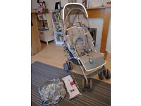 MacLaren XT pushchair with rain cover and new seat liner