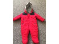 Red snowsuit 3-6m