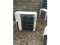 Air conditioning system, heats and cools 3 outdoor units 4 indoor wall units remote control