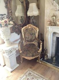 VINTAGE FRENCH THRONE ARM CHAIR