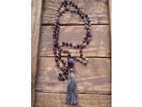 Amethyst Mala Necklace / Inner Peace Mala / Mala Beads 108 / Hand Knotted Mala / Gemstone Necklace