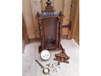 ANTIQUE VIENNA WALL CLOCK MAHOGANY CASE NEEDS ATRENTION PLUS SOME EXTRA PARTS