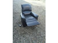 Dark Brown Leather Electric Rise & Recline Chair, Free Delivery In Norwich,