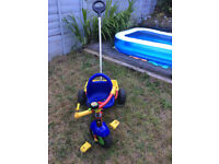 Childrens / Toddlers Blue Red Yellow Kettler tricycle with harness and scoop container