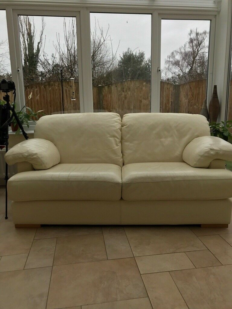Cream Leather Two Seater Sofa Good Condition In