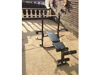 Weight Bench, weights, Dumbbells, Barbell and free pull up bar