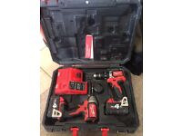 Milwaukee Drill driver, Impact driver and 2 x 4ah Batteries