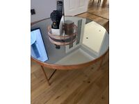 Rose gold and smoked glass coffee table