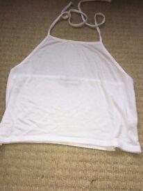 white crop top with neck tie