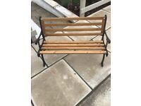 Children's garden bench, cast iron and oak