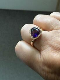18ct gold amethyst and diamond ring