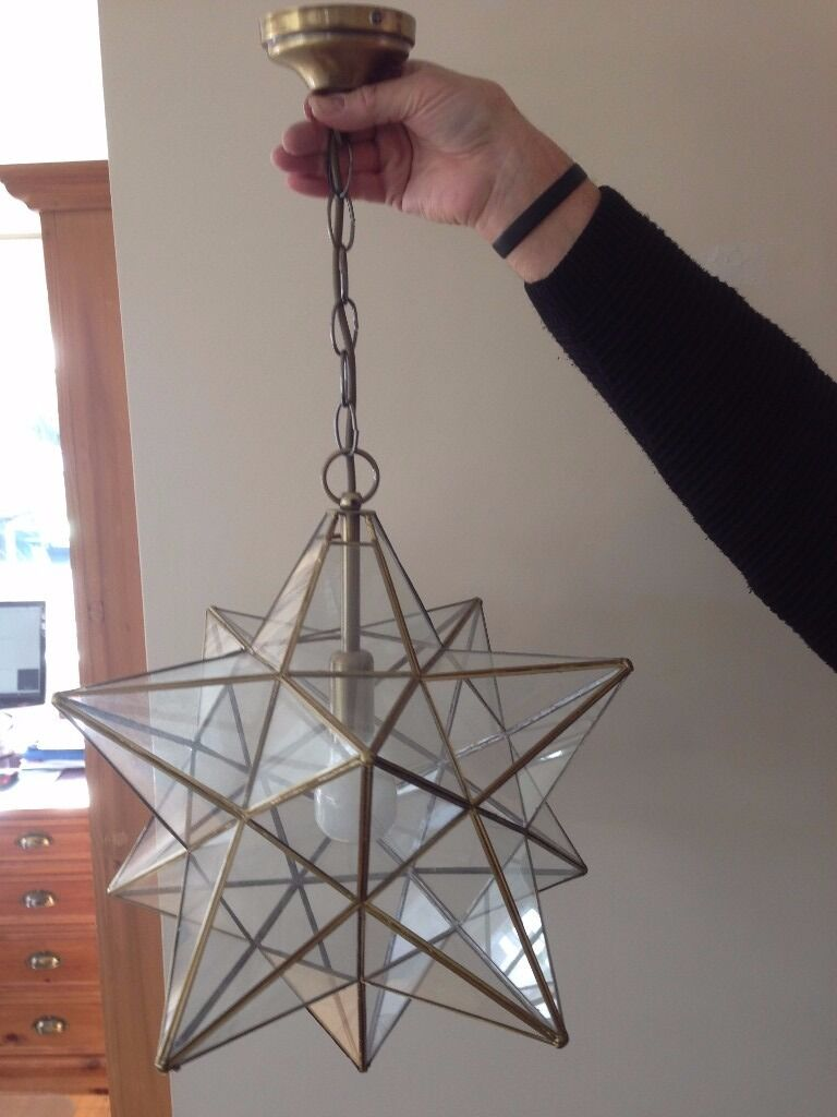 Matching large ceiling drop star light shades in brass and glass matching large ceiling drop star light shades in brass and glass aloadofball Gallery