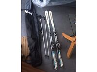 Skis with Bindings, Poles and Bag For Sale