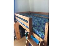 Solid pine mid sleeper with desk comes with mattress