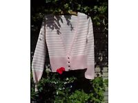LADIES LONG SLEEVE FITTED CARDIGAN, SIZE 10. CANDY PINK AND WHITE.