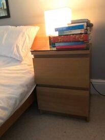 MOVING SALE- 2 WOODEN IKEA MALM BEDSIDE TABLES- OAK- BEDROOM FURNITURE