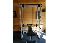 Pro quality squat rack with bar an d weights