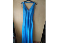 Sky blue diamonte halterneck dress size 12, £20