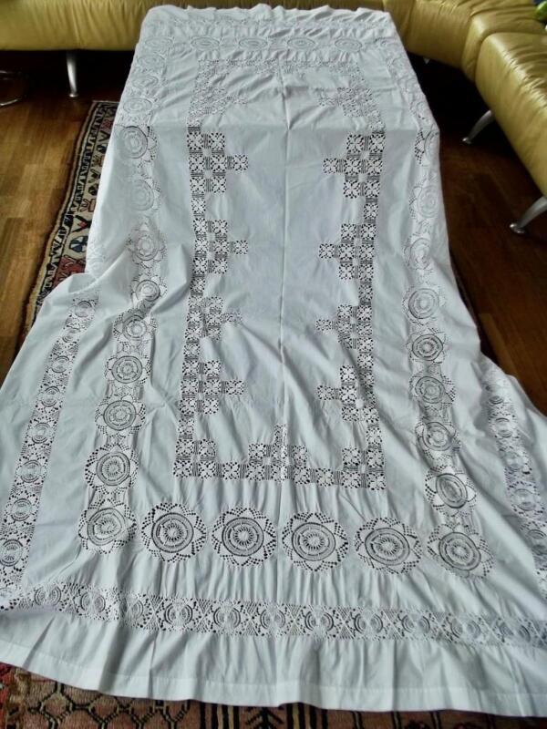 Antique White Cotton Banquet Tablecloth Extensive Tenerife Lace 64x118 Hemstitch