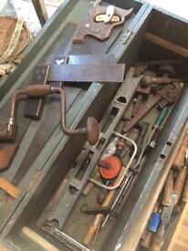 Old tool box plus tools