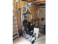 Gym Equipment: Olympic Barbell + Multigym + Bench + Weights + Bike + Barbell + Sit-up bench