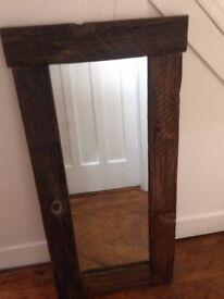Beautiful quality handmade chunky rustic wooden mirror