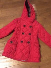 Next girls red winter coat age 3-4 years