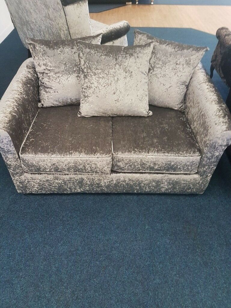 Fabric Small 2 Seater Sofa Crushed Velvet Silver Scatter Back
