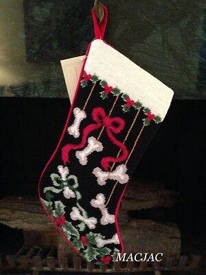 Dog Bones Needlepoint Christmas Stocking NWT