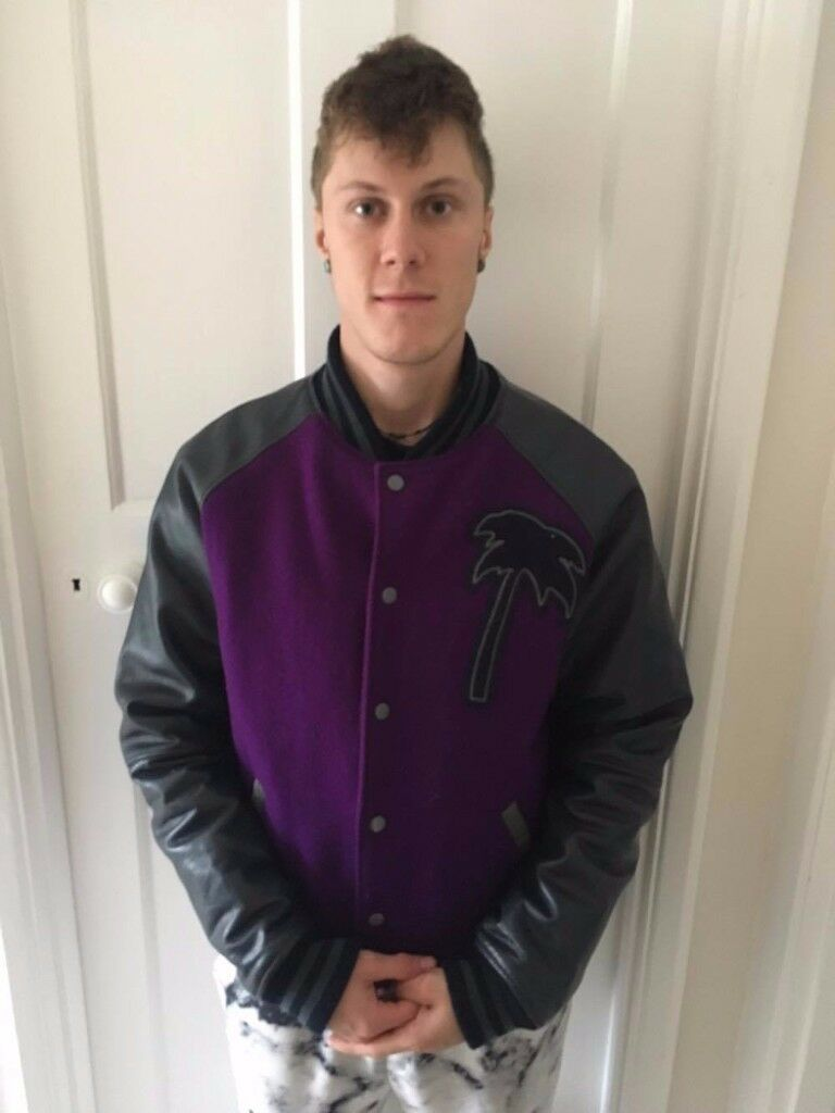 Trainer Spotter varsity palm jacket ( Real leather)