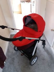 Mamas&Papas red sola 2 with car seat with rain cover