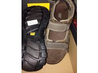 BRAND NEW BOXED CAT SANDALS SIZE 7 GILES 2 CHOCOLATE