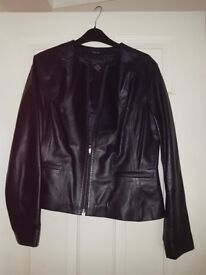 LADIES LEATHER JACKET (NAVY BLUE) MARKS & SPENCER (AUTOGRAPH)-SIZE 16-VIRTUALLY NEW