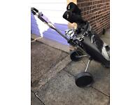 Complete golf set with trolley and bag