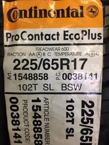 2 Brand New Continental Pro Contact Eco Plus 225/65R17 *** WallToWallTires.com ***
