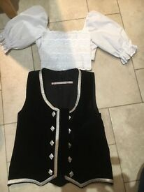 Highland dance black waistcoat and blouse