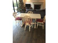 Farmhouse / country solid oak kitchen / dining table & 4 chairs