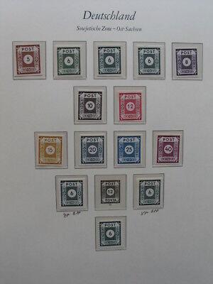 Briefmarkensammlung SBZ / Ost-Sachsen mit Nr. 43 C auf 2 Seiten