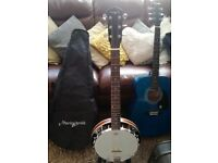 Immaculate Martin Smith 6 string Banjo & Blue Lindo Acoustic guitar with carry cases & stand