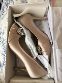 Size 6 taupe satin peep-toe heels worn once