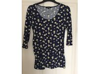 Navy floral print maternity top - size 10