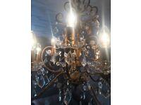 Golden bronze chandelier